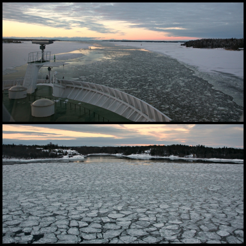 Sunrise and sunset from the ferry deck in January 2016
